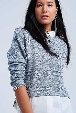 Q2 Mujer Jersey gris combinado con camisa - S: Amazon.es: Ropa