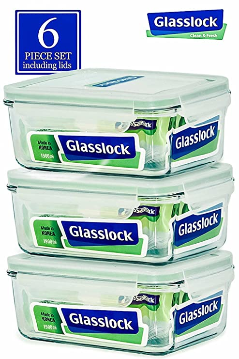 Glasslock Food Storage Container With Locking Lids Oven And Microvave Safe    Rectangular 64oz