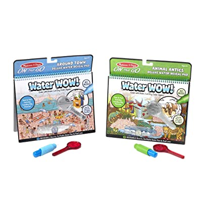 Melissa & Doug On The Go Water Wow! Deluxe 2-Pack (The Original Reusable Water-Reveal Coloring Books - Around Town, Animal Antics - Great Gift for Girls and Boys – Best for 5, 6, 7, and 8 Year Olds): Toys & Games