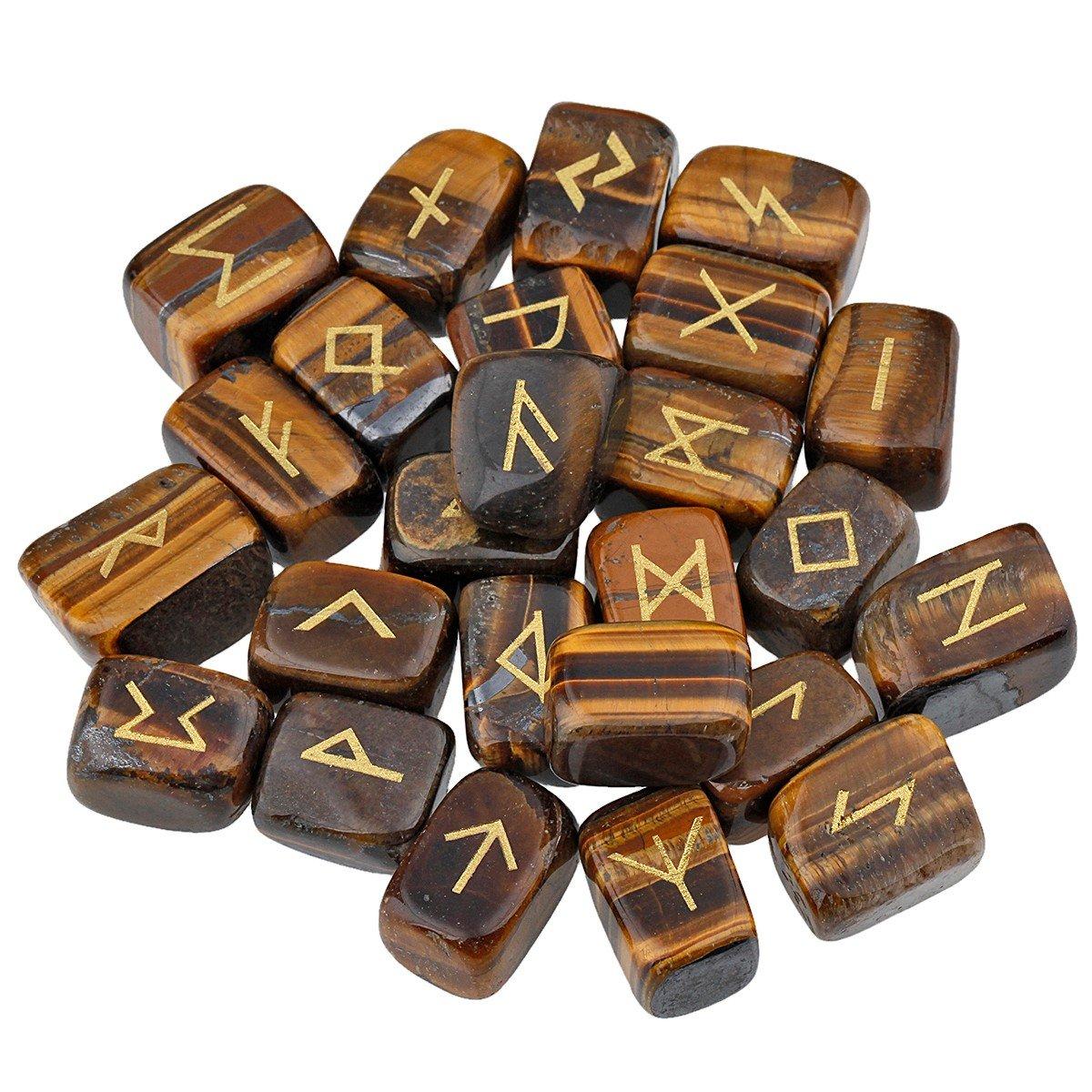 mookaitedecor Rune Stones Set with Engraved Elder Futhark Alphabet Crystal Meditation Divination,Hematite GDSTSU000505