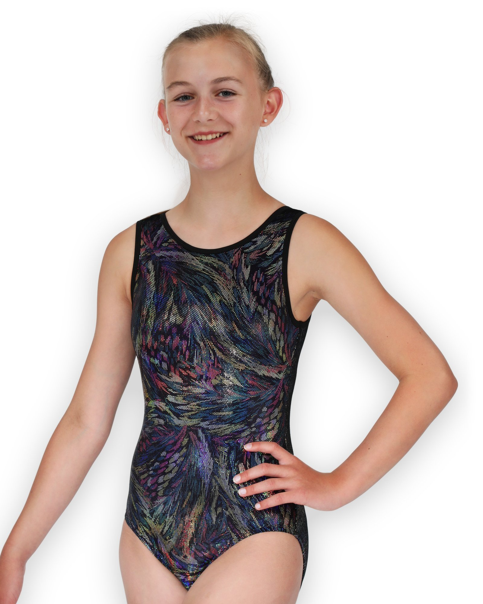 Pelle Gymnastics Leotard for Girls - Black Velvet Feathers - AM