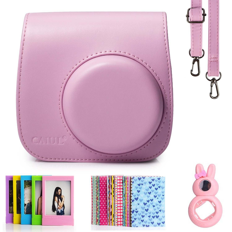 Fujifilm Instax Mini 8 Instant Camera Accessory Bundles Set (Included: Pink Mini 8 Vintage Case Bag/ Pink Rabbit Design Mini 8 Close-Up Lens(Self-Portrait Mirror)/ 3 Inch Photo Frame/ Colorful Decor Sticker Borders) CAIUL BUNDLE SET8 4in1 Pink