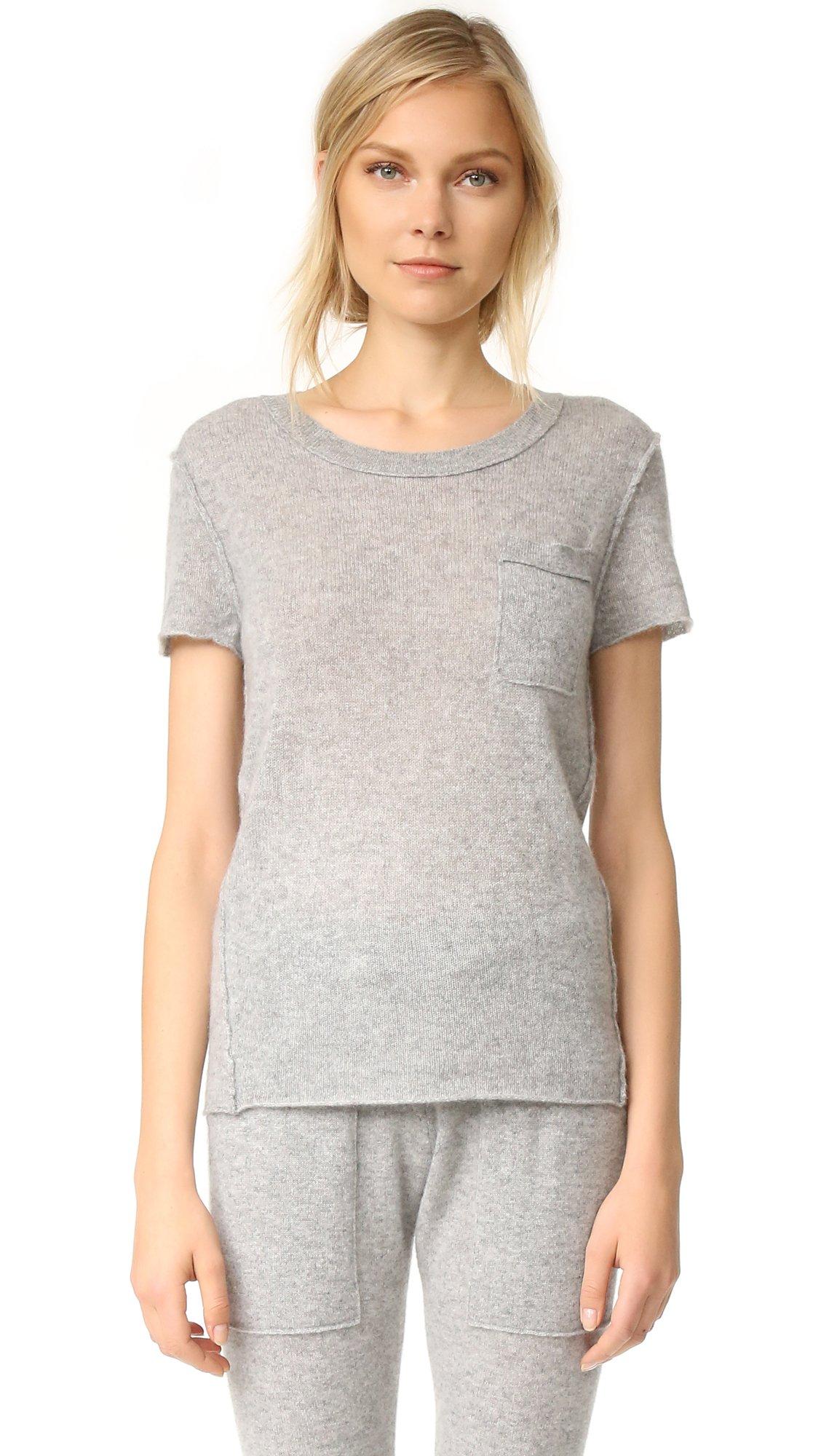 White + Warren Women's Cashmere Essential Pocket Tee, Grey Heather, Medium