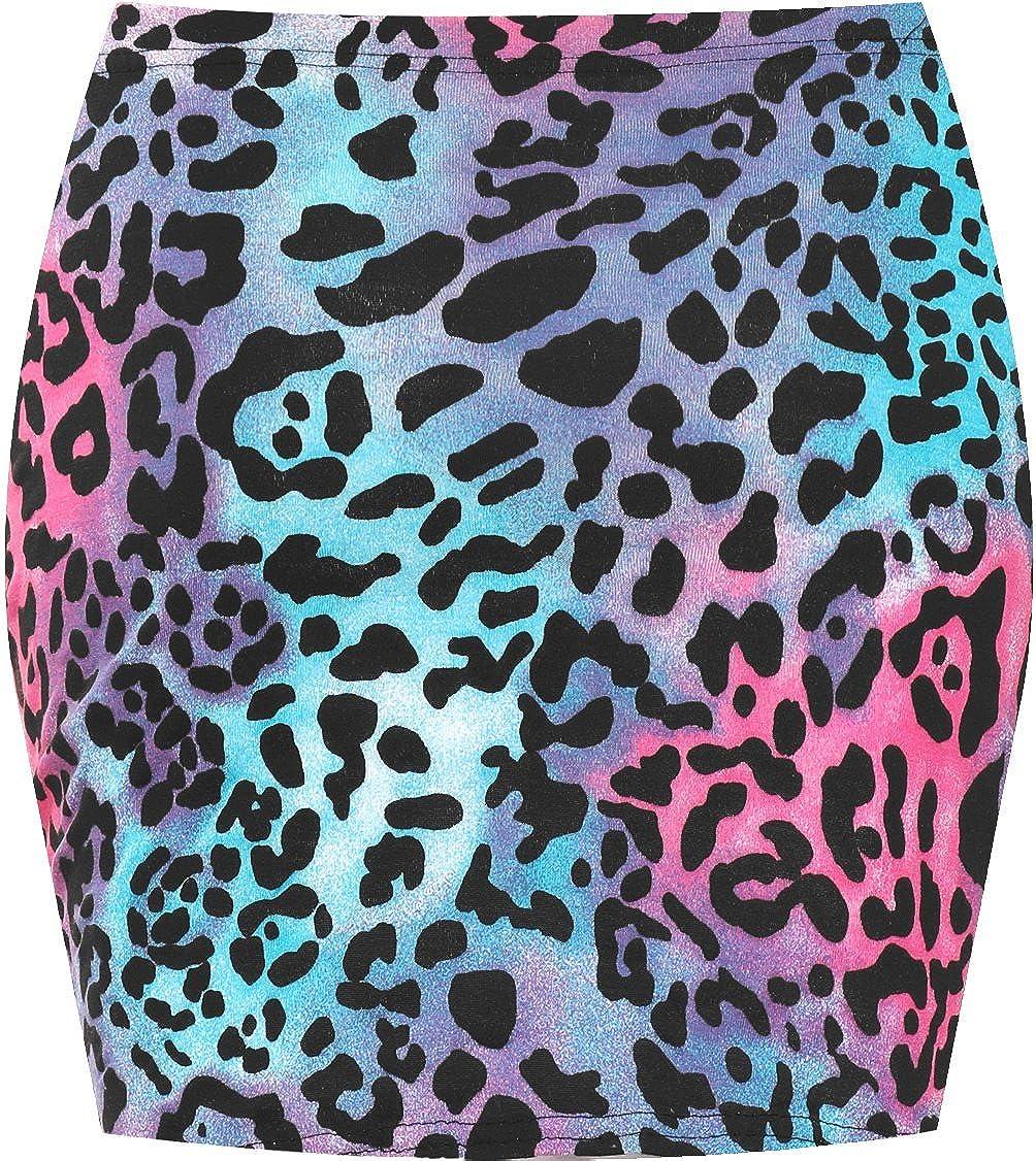 WearAll Mujeres Stretch Bodycon El/ásticos Imprimir Corta Jersey Minifalda