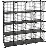 "SONGMICS Metal Wire Cube Storage,16-Cube Shelves Organizer,Stackable Storage Bins, Modular Bookcase, DIY Closet Cabinet Shelf, 48.4""L x 12.2""W x 48.4""H, Black ULPI44H"
