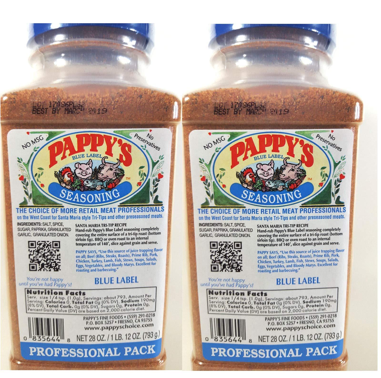 Pappy's Choice Seasoning 2- 28 oz -50% less Salt Professional Packs