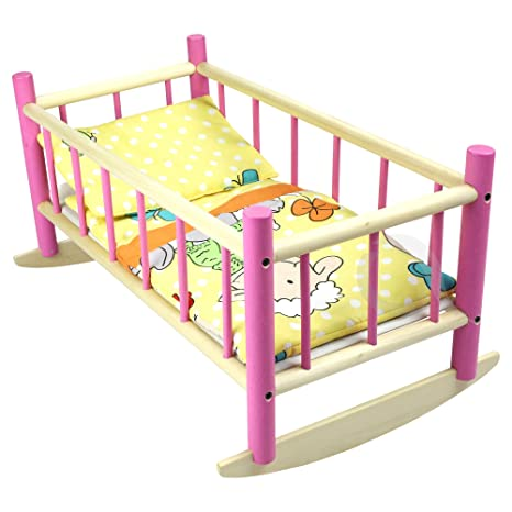 "Nuevo grande de madera rosa mecedora cama cuna para muñecas de hasta 50 cm 19 """