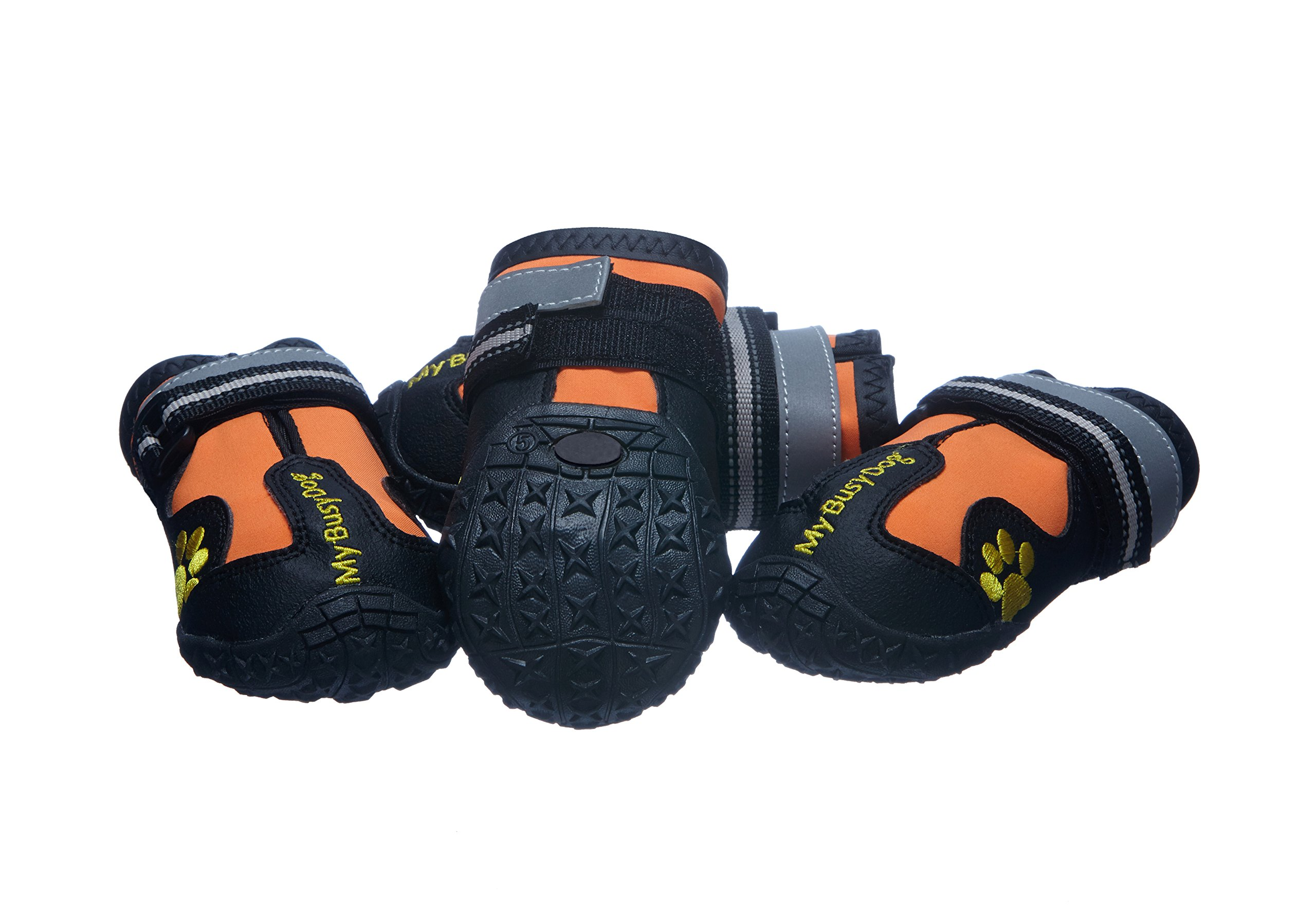 My Busy Dog Water Resistant Dog Shoes with Reflective Velcro and Rugged Anti-Slip Sole (Size 6, Orange)