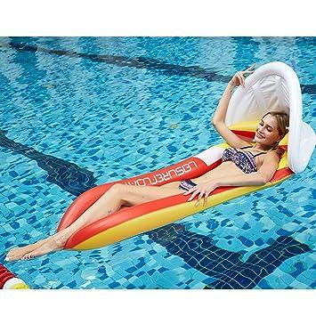 Lovebay Colchoneta Piscina,Flotador Gigante Sombra Desmontable Colchonetas Piscina Sombra Cama Hinchables para Piscina Naranja(160 * 90cm)