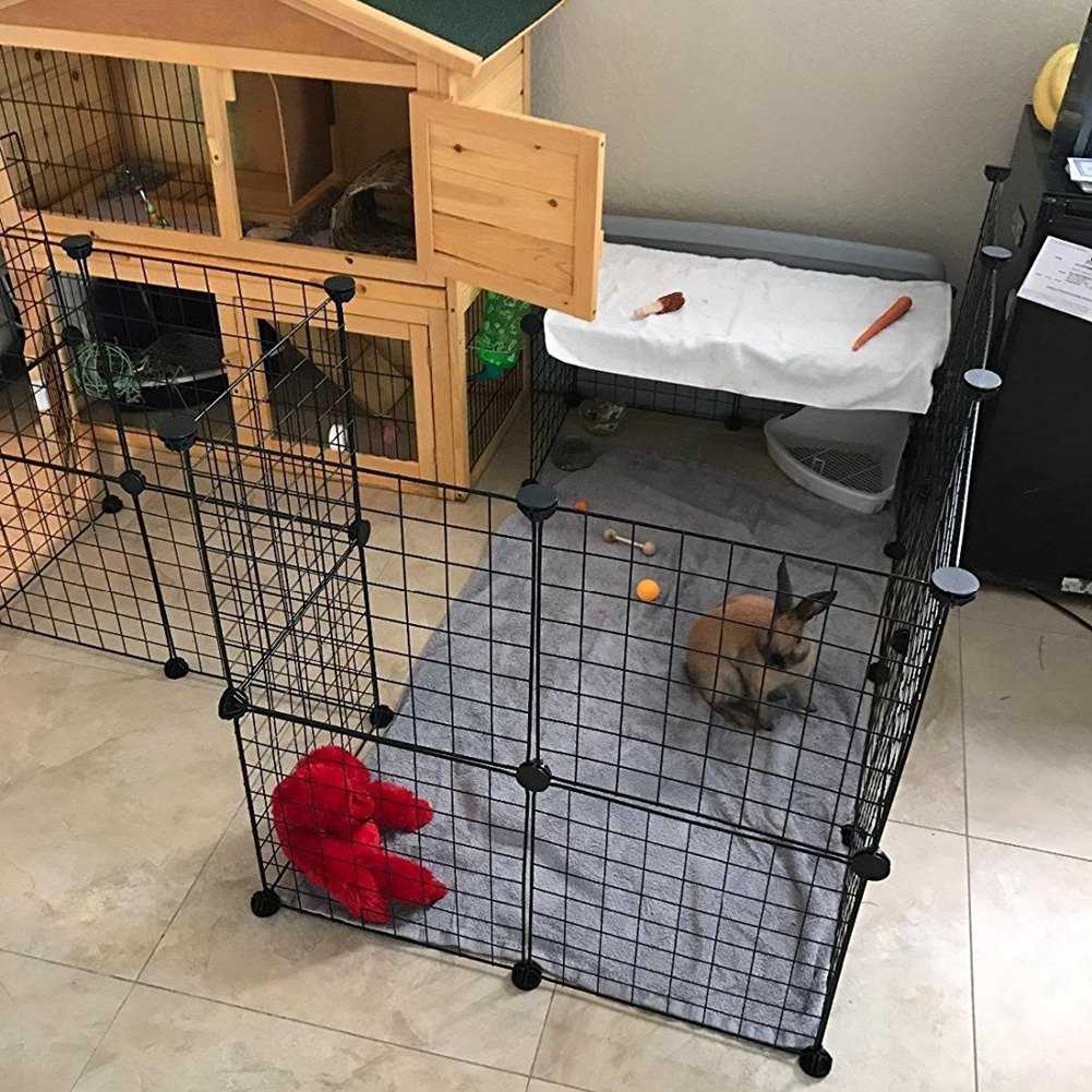 JYYG Pet Playpen, Small Animal Cage Indoor Portable Metal Wire Yard Fence for Small Animals, Guinea Pigs, Rabbits Kennel Crate Fence Tent, Black,24 Panels by JYYG (Image #7)