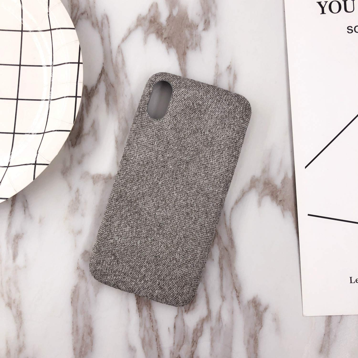 Phone Case,Ultra-Thin Felt Mobile Phone Shell Flannel Bottom Soft Shell for iPhone X Mobile Phone(Light Gray)