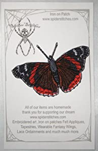 Red Admiral Butterfly Vanessa atalanta Iron on or sew on Patch