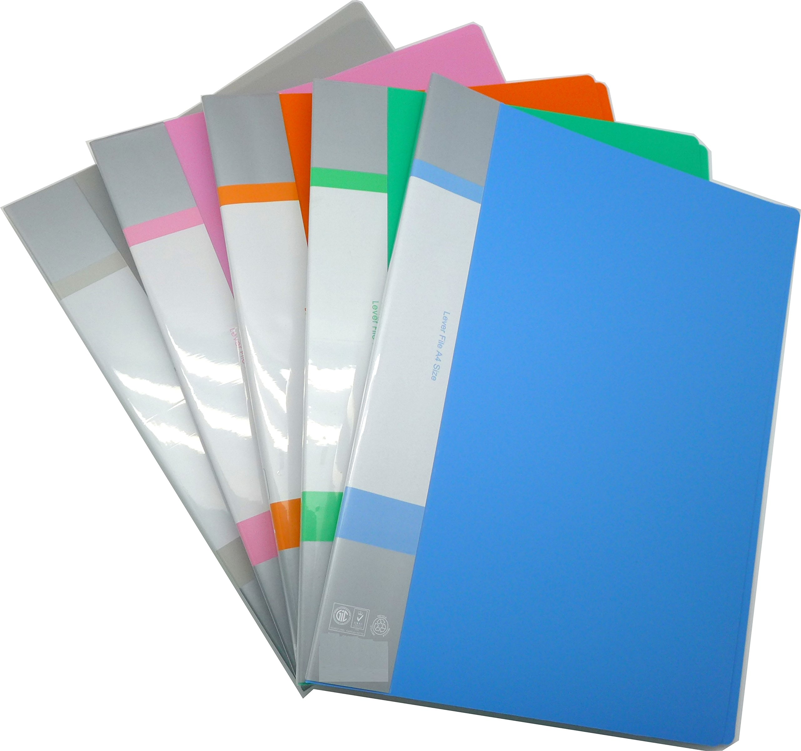 Cypress Lane Punchless Binder with Spring Action Clamp, 100 Sheet Capacity, Pack of 5 (Green/Blue/Orange/Gray/Pink)