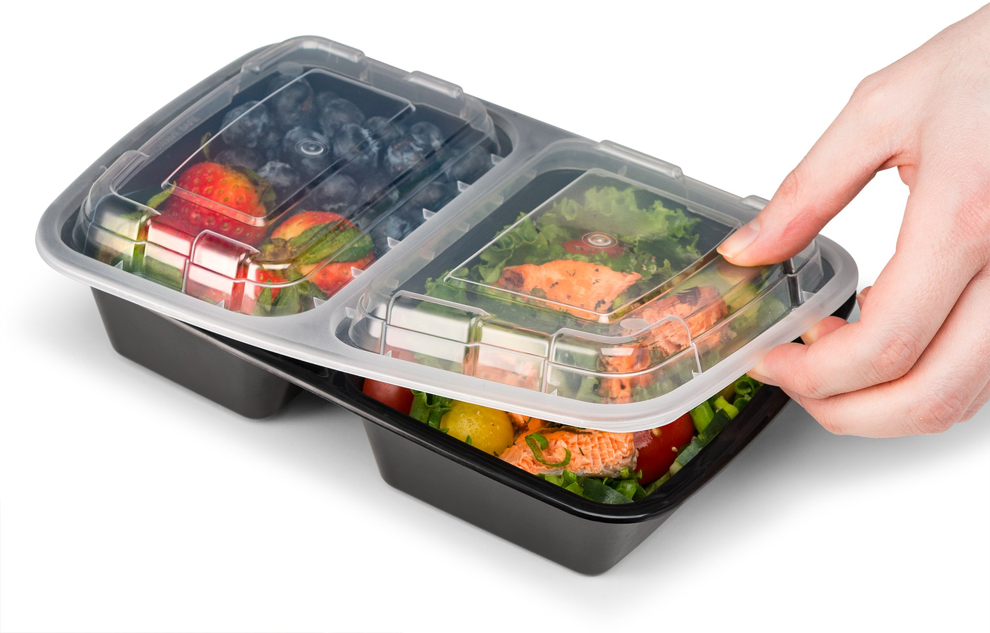 Ez Prepa [20 Pack] 28oz 2 Compartment Meal Prep Containers with Lids - Food Storage Containers Bento Box Lunch Box Made of BPA Free Plastic, Stackable, Reusable, Microwavable, Freezer, and Dishwasher by Ez Prepa (Image #6)
