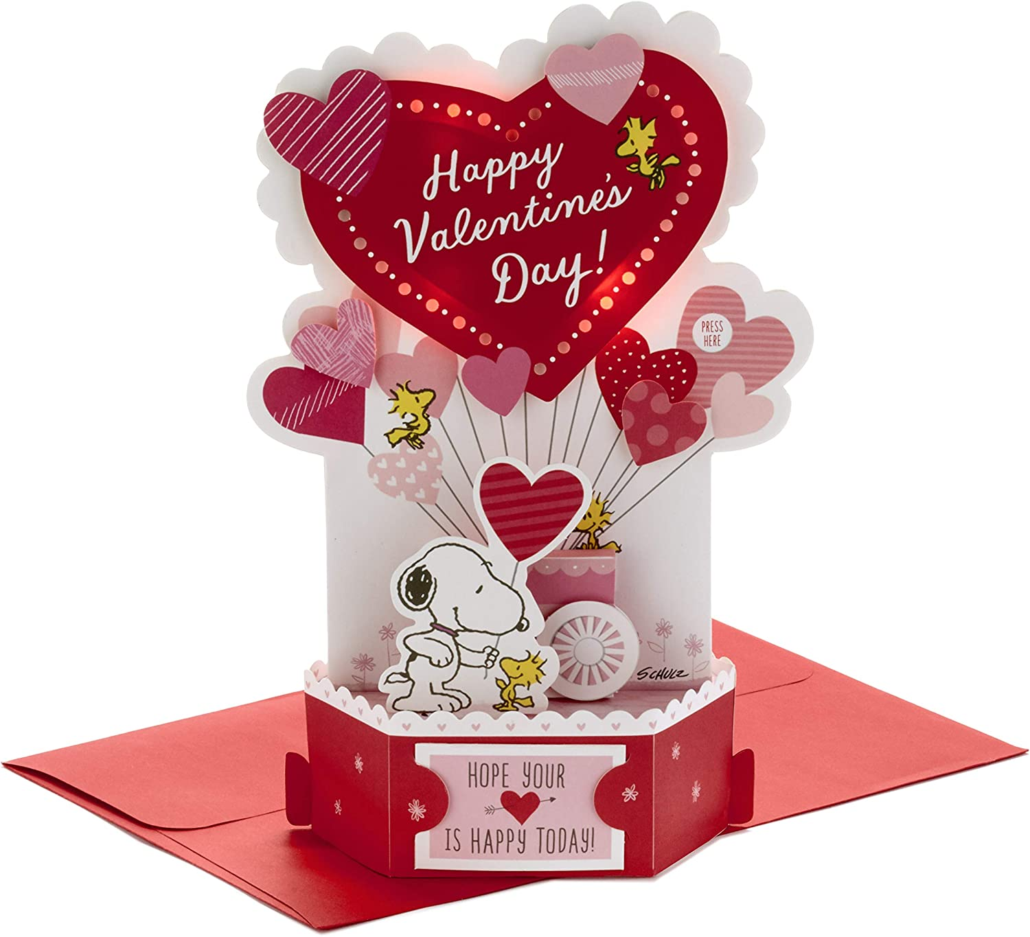 Amazon Com Hallmark Paper Wonder Musical Peanuts Pop Up Valentines Day Card Plays Linus And Lucy Office Products