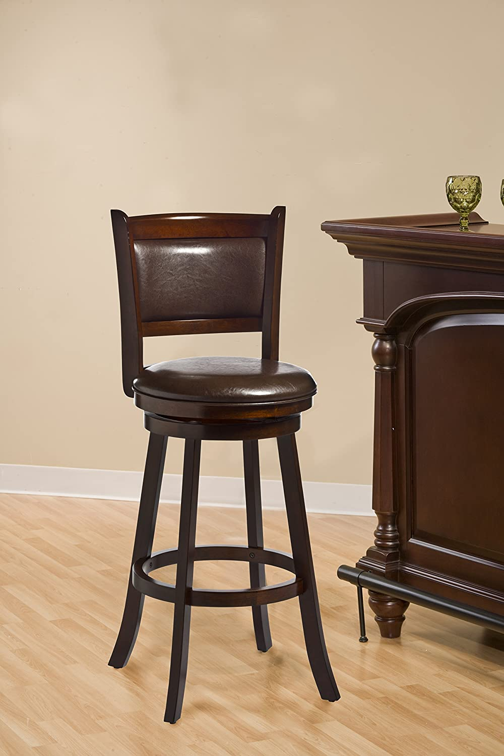 Hillsdale Dennery Swivel Counter Stool, Cherry