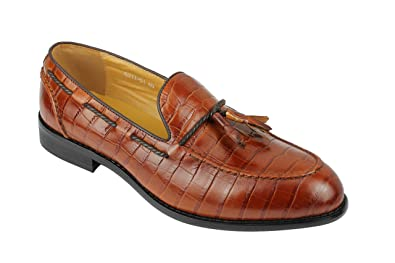 Mens Vintage Real Leather Crocodile Print Tan Brown Smart Casual Tassel Penny Loafer Slip On Shoes