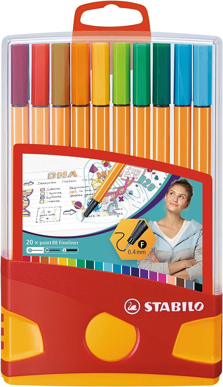 20 Colori Penne colorate Fineliner Stabilo 8820-03 Point 88 ColorParade