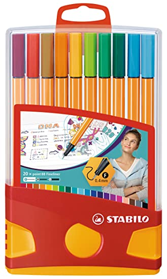 Stabilo Point 88 Fineliner Drawing Art 0.4mm Tip Pens Assorted Wallet of 20