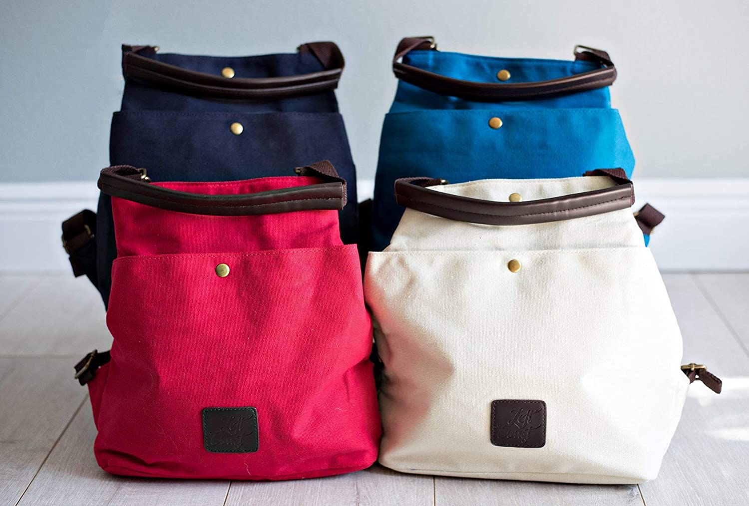 7887262f0f6278 Amazon.com: Backpack Convertible Tote Bag Canvas Vegan Laptop Tablet Purse  Beach Messenger Handbag Luggage Carryall Grad Gift Her Blue Red Navy White:  ...