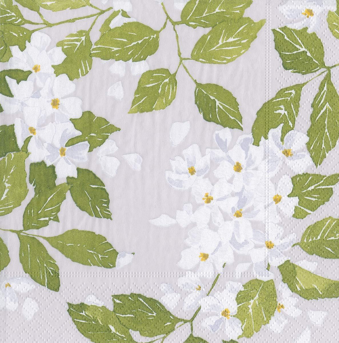 Caspari Paper Napkins Party Napkins Disposable Napkins 6.5 x 6.5 Decorative Blanc De Blancs Grey Pk 40