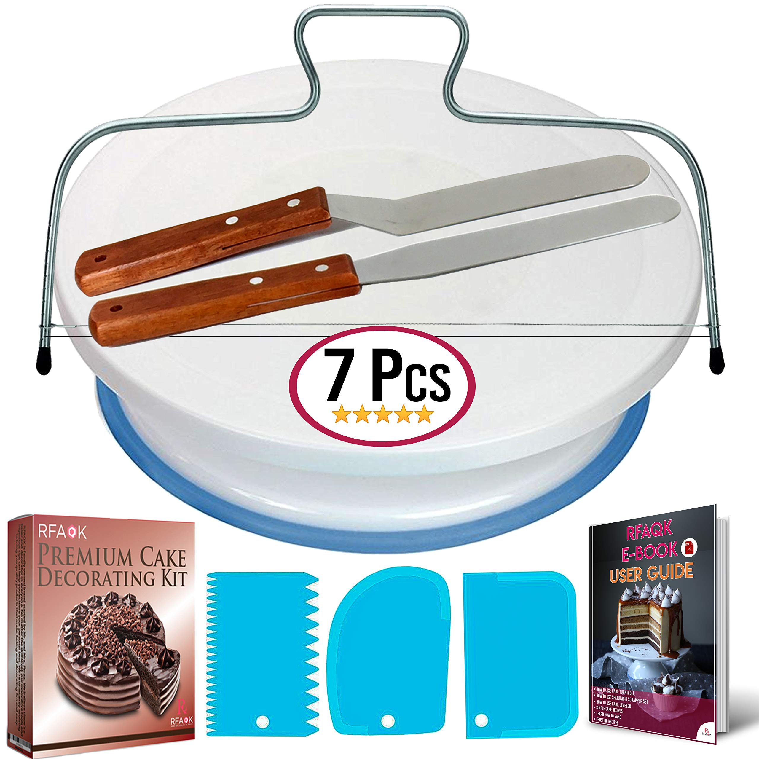 Cake Turntable and Leveler-Rotating Cake Stand with non slip pad- Straight & Offset Spatula-3 Icing Smoother Scraper Set -EBook-Cake Decorating Supplies Kit for Beginners -Baking Tools & Accessories by RFAQK