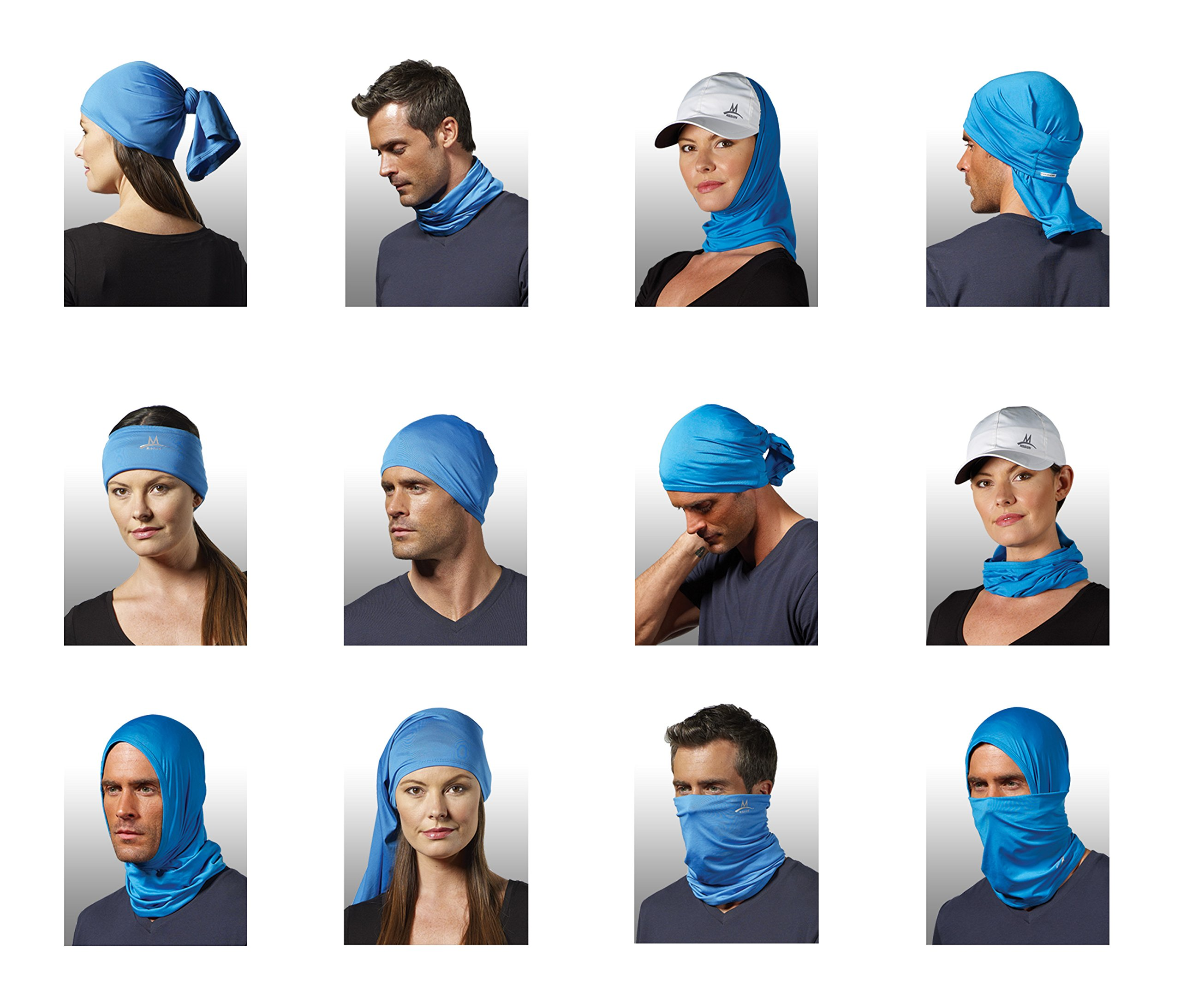 Mission Multi-Cool 12 in 1 Multifunctional Gaiter and Headwear Blue by MISSION
