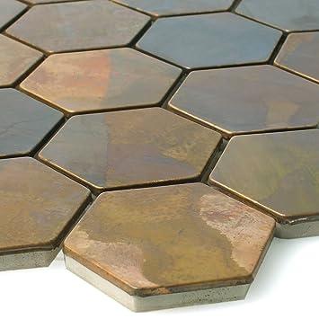 Mosaikfliesen Kupfer Merkur Sechseck Braun 48 | Wandfliesen | Mosaik Fliesen  | Hexagon Polygon |