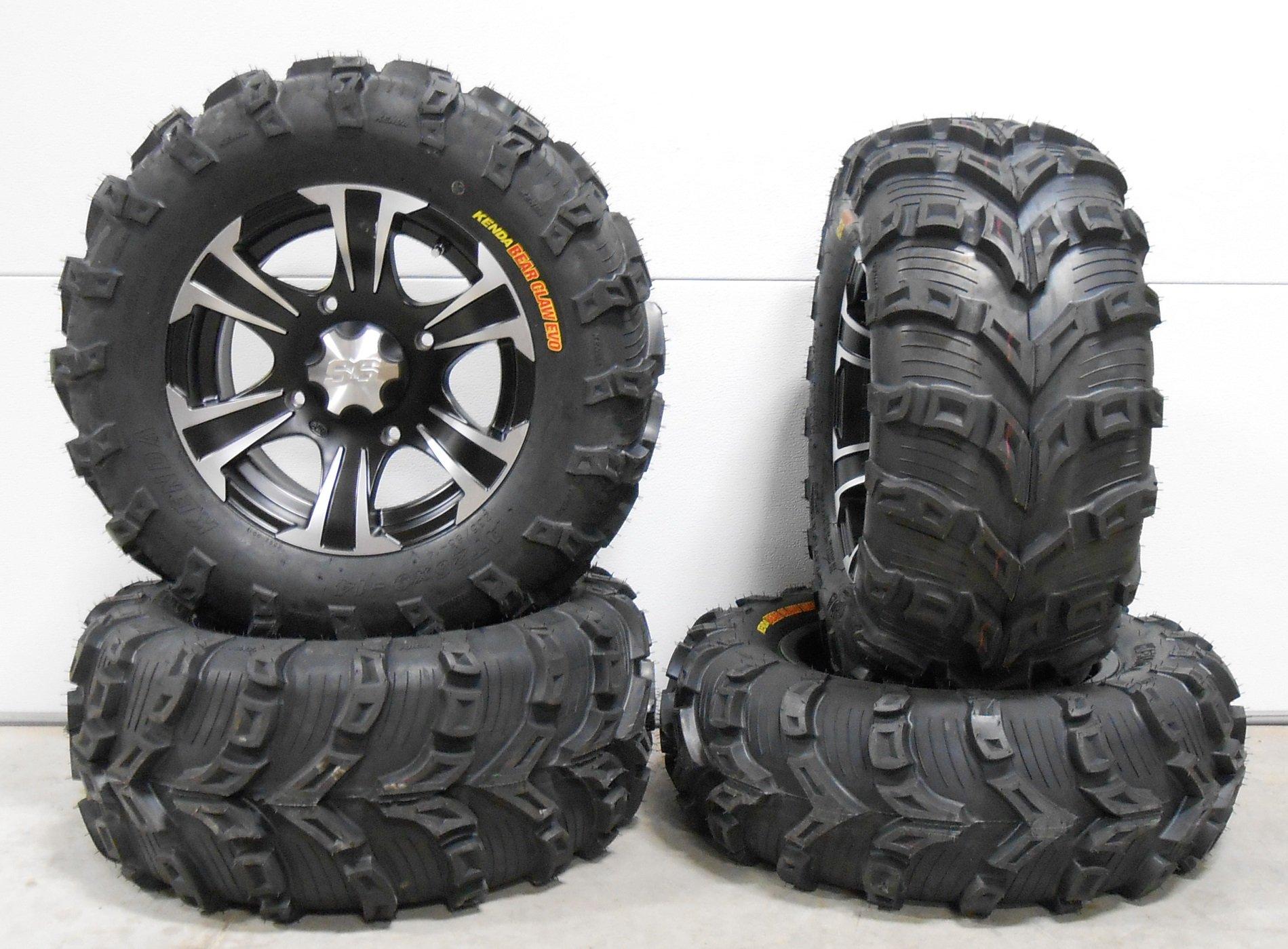 Bundle - 9 Items: ITP SS312 14'' Wheels Black 26'' Bear Claw EVO Tires [4x156 Bolt Pattern 3/8x24 Lug Kit]