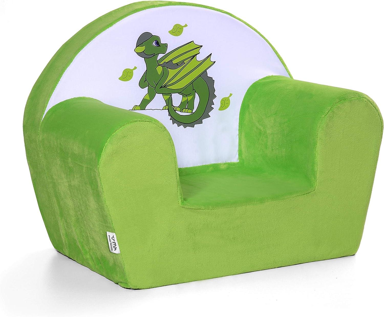 Musehouse 👉 Silla infantil con diseño de dragón verde Elemento tierra / Sillón bebé para niños de 1 a 5 años / Espuma sofá de felpa verde 🍀
