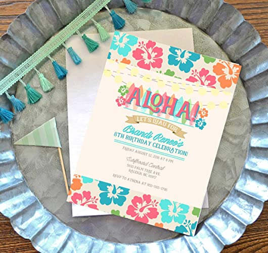 Amazon Com Luau Birthday Invitations With Envelopes Hawaiian