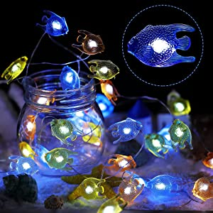 Hiboom Tropical Fish String Lights, Ocean Nautical Theme Lights, 8 Modes 9.8 Feet 30 LEDs Battery Operated USB Plug-in Copper Wire Fairy Lights with Remote for Indoor Outdoor Bedroom