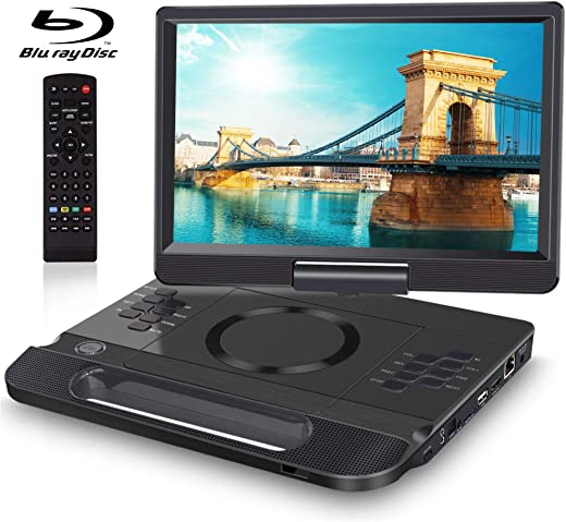 """FANGOR 13.3 Inch Portable Bluray Player with 12"""" HD Swivel Screen, 5 Hours Rechargeable Battery HDMI Out/AV"""