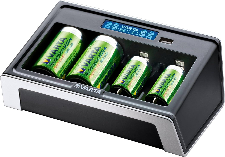 VARTA LCD Universal - Cargador Universal de Pilas NiMH AA, AAA, C, D, 9V y USB, 4 Ranuras