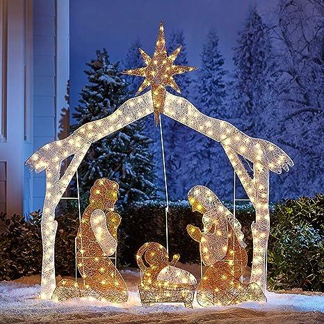 Christmas Nativity Set Outdoor.Brylanehome Crystal Splendor Outdoor Nativity Scene White 0