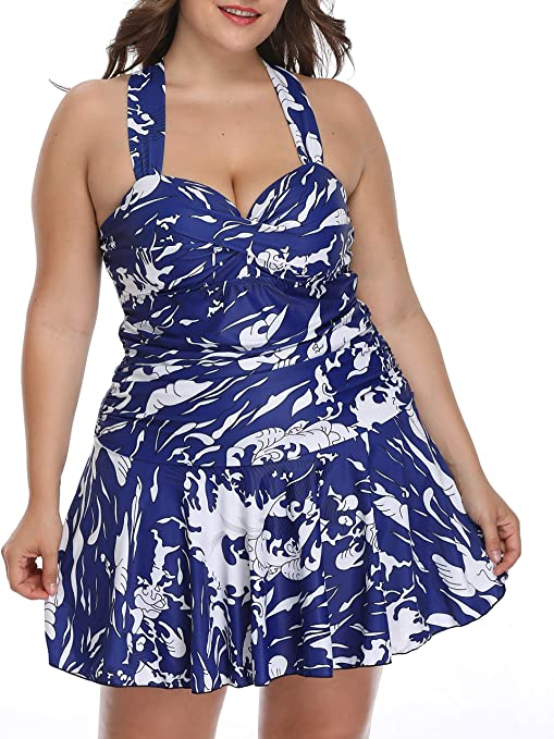 Women 2 Pieces Plus Size Printed Sweetheart Neck A Line Swimdress Tankini Top with Boyshort Swimsuit