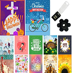GROOTEY Seasonal Garden Flag Set of 12 12x18Inch Double Sided Yard Flag with Free Anti-Wind Clip and Stopper Festive Garden Flag Outdoor Decoration Christmas,Halloween,Easter,Mothers Day,Holidays