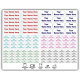 126 Personalized Waterproof Name Labels. Press and Stick Multi use Custom Name Labels. Highly Durable Customized Name Sticker