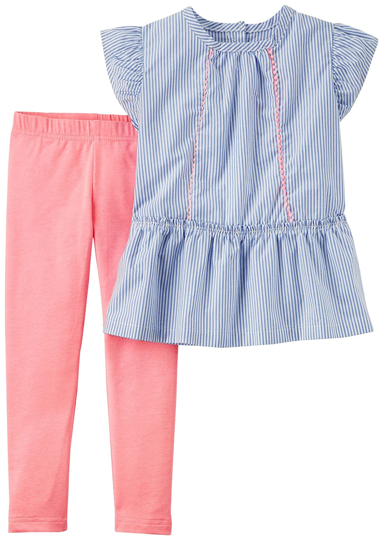 Carter's SHIRT ベビーガールズ 18 Months Chambray Blue/Pink B079BRX4QH