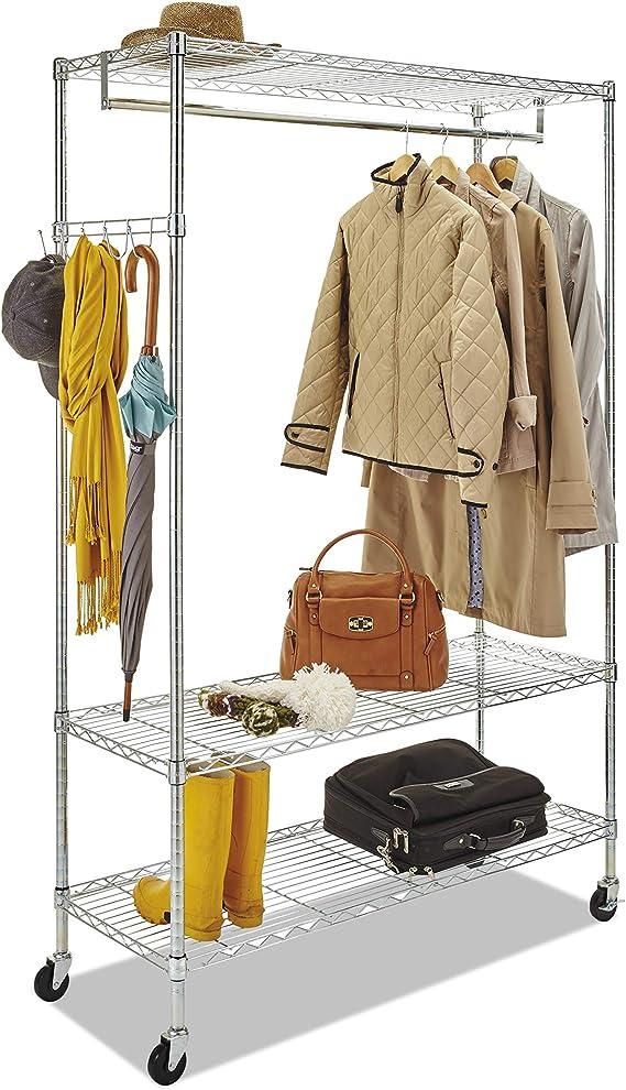 Alera Gr364818sr Wire Shelving Garment Rack Coat Rack Stand Alone Rack W Casters Silver Furniture Decor Amazon Com