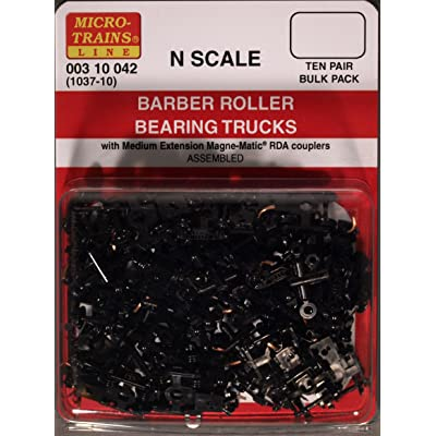 Micro-Trains N Scale - 10 Pack - #1037 - Barber Roller Bearing Trucks With Medium RDA Couplers MT-003-10-042: Toys & Games