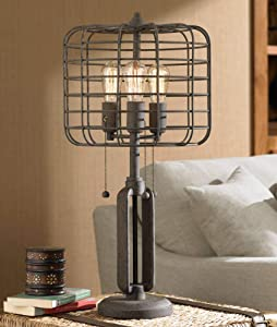 Industrial Table Lamp Rustic Metal Cage Accent Edison Bulb for Living Room Family Bedroom Bedside Nightstand