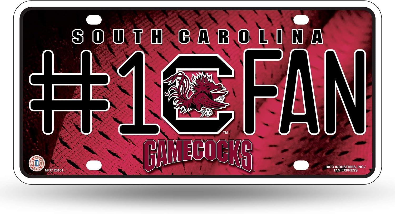 NCAA Rico Industries  #1 Fan Metal License Plate Tag South Carolina Fighting Gamecocks