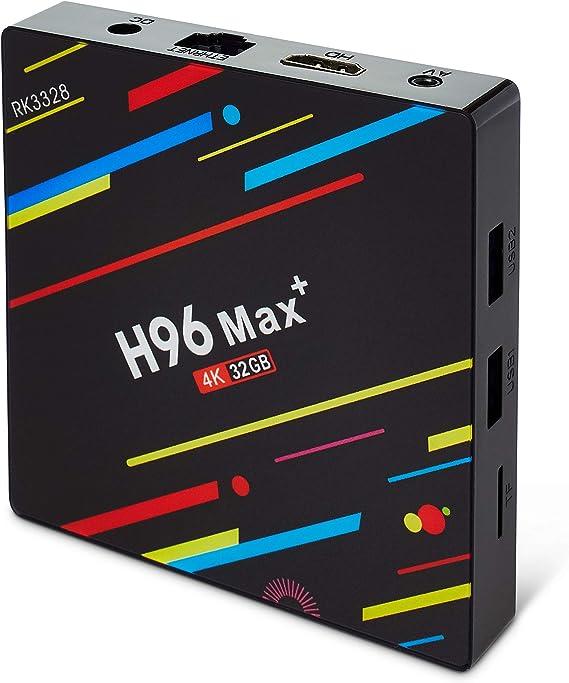 Android TV Box – H96 MAX Plus 9.0, Rock Chip (RK3328) 4GB RAM 32GB ROM – Quad-Core 64 bits CPU Support 2.4G/5G Wifi/100M 4K Smart Android TV Box LAN/USB3.0/USB2.0/TF Ranura para Tarjeta: