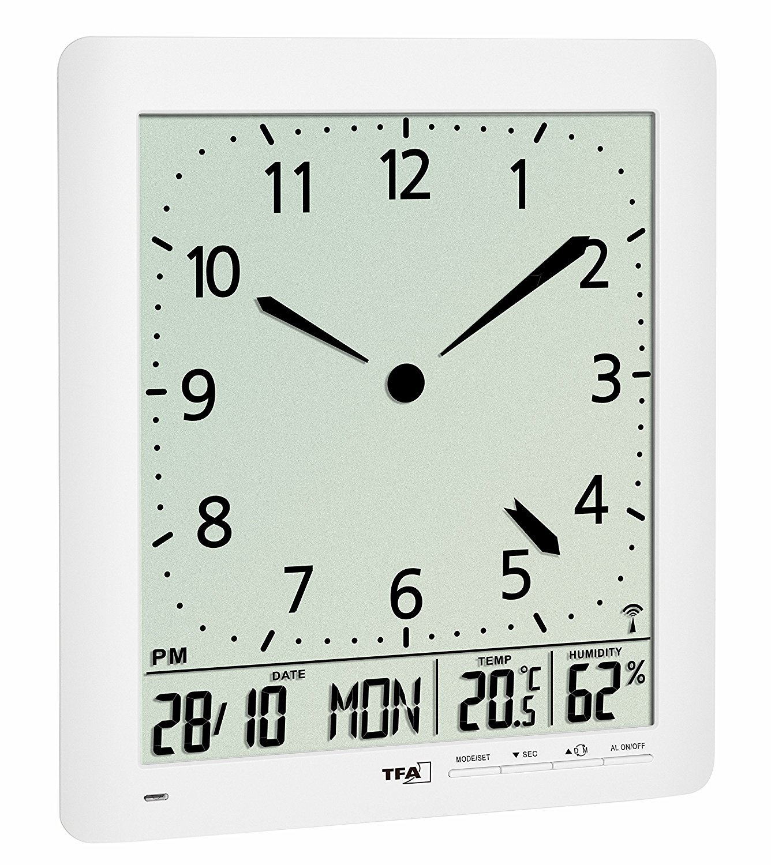 TFA Dostmann 60.4515 Funkuhr mit Analoger LCD-Uhr und Raumklima (weiß mit Batterien)