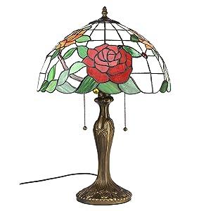 Gweat Luce Tiffany 16 pollici stile pastorale Stained Glass Rose Serie Lampada da tavolo Bedroom Light Reading