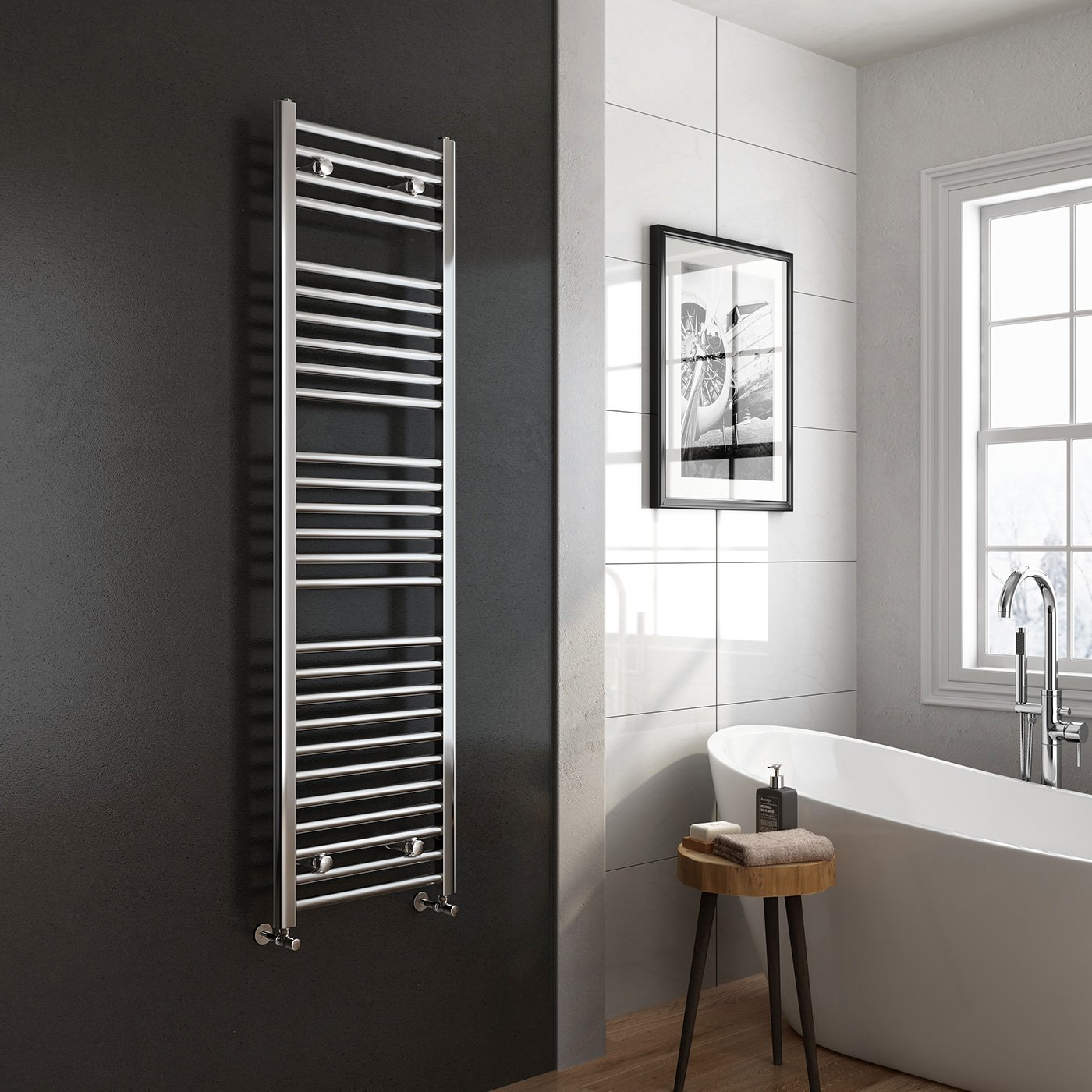 Natasha ladder rail straight modern electric towel radiator in chrome - Ibathuk 1600 X 450 Premium Straight Heated Towel Rail Chrome Bathroom Radiator All Sizes Ibathuk Amazon Co Uk Diy Tools