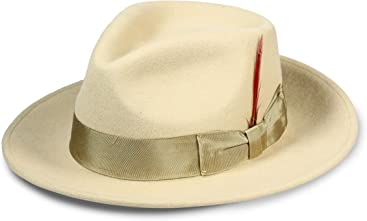 Ferrecci Panama Gangster Fedora Hat-100% Wool-Crushable-Great for Travel c20a89dff4f0
