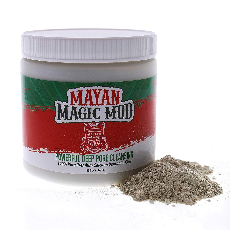 Mayan Magic Mud | 100% Pure Premium Calcium Bentonite Healing Clay | Powerful Deep Pore Cleansing Facial & Body Mask | Treats Acne Breakouts, Blackheads & Oily Skin | 16 Oz