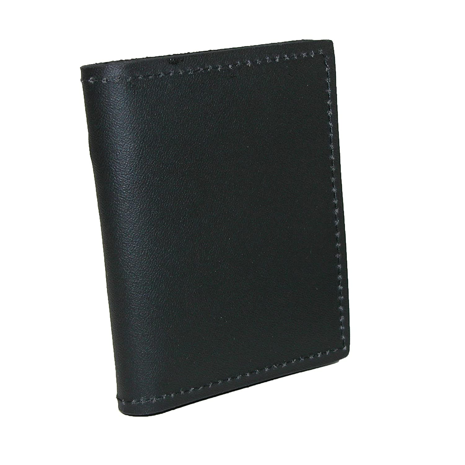 Boston Leather Leather Book Style Bifold Badge Holder Wallet, Black